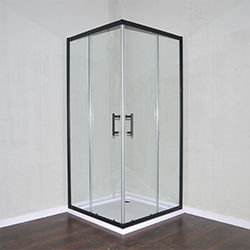 SALLY B0002F4 Matt Black Square Corner Entry Shape 2 Sided Sliding Shower Door