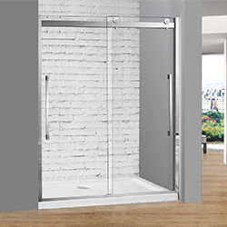 SALLY BP27P2 Bypass Double Sliding Shower Door with Mirror Like Stainless Steel Frame