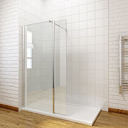 SALLY F002 Wetroom Shower Glass Panel with Swing Panel
