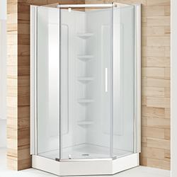 SALLY A33 Neo-Angle Diamond Aluminum Framed Tempered Glass Pivot Hinge Shower Doors