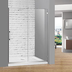 SALLY BX02P2 Frameless Glass Smooth Sliding Shower Door with Stainless Steel Support Bar