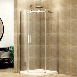 SALLY BP08S3 Sector Shape Frameless Sliding Shower Enclosure with Large Wheel