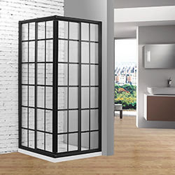 SALLY B0002F4 Grids Matt Black Square Corner Entry Shape 2 Sided Sliding Shower Door
