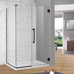 SALLY AAH34F3 Matt Black Frameless Tempered Glass Hinge Shower Door With Stainlees Steel Handle Shower Enclosure