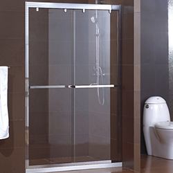 SALLY B518 Soft Close Bypass Frameless Stainless Steel Track Shower Door