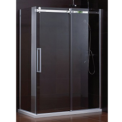 SALLY B054 Rectangle Big Roller Frameless Sliding Shower Enclosure with Side Panel