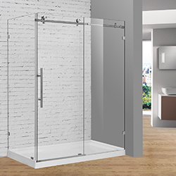 SALLY BP05F3 Brush Nickel Sliding Shower Door with Side Panel